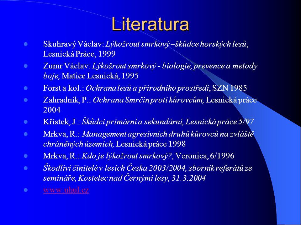 Literatura Skuhravý Václav: Lýkožrout smrkový –škůdce horských lesů, Lesnická Práce, 1999.