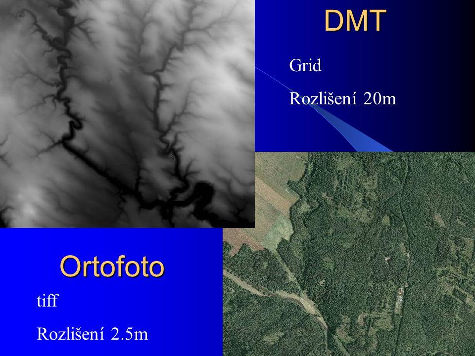 DMT Grid Rozlišení 20m Ortofoto tiff Rozlišení 2.5m