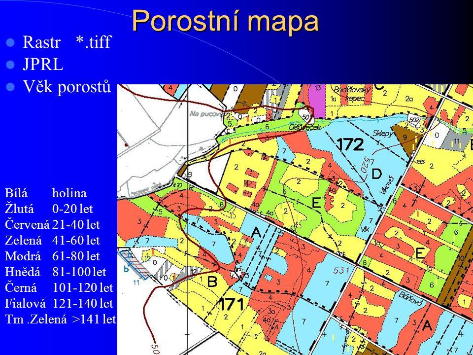 Porostní mapa Rastr *.tiff JPRL Věk porostů Bílá holina Žlutá 0-20 let