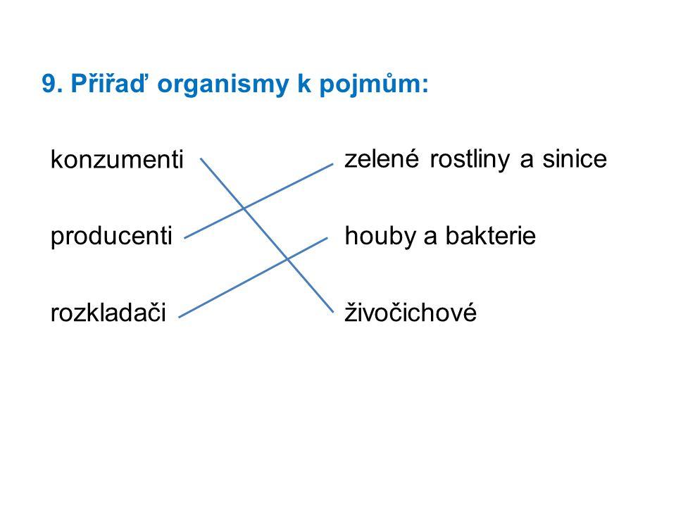 9. Přiřaď organismy k pojmům: