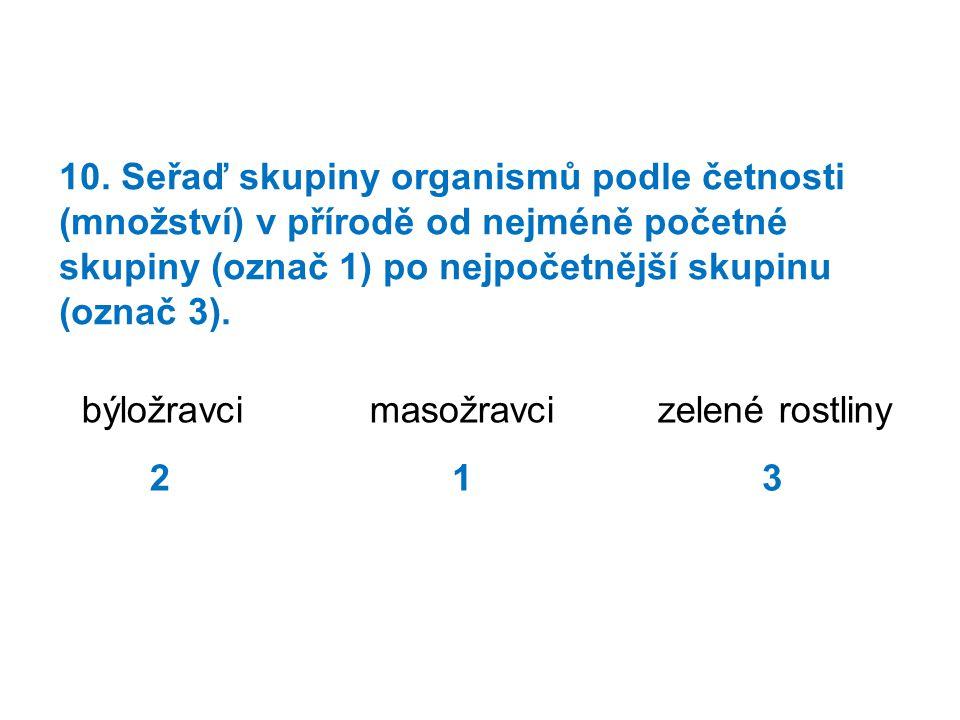 10. Seřaď skupiny organismů podle četnosti (množství) v přírodě od nejméně početné skupiny (označ 1) po nejpočetnější skupinu (označ 3).