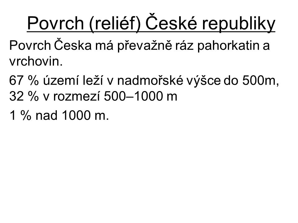 Povrch (reliéf) České republiky