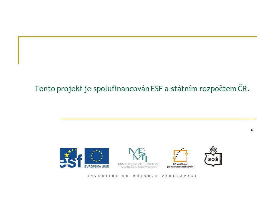 Tento projekt je spolufinancován ESF a státním rozpočtem ČR.