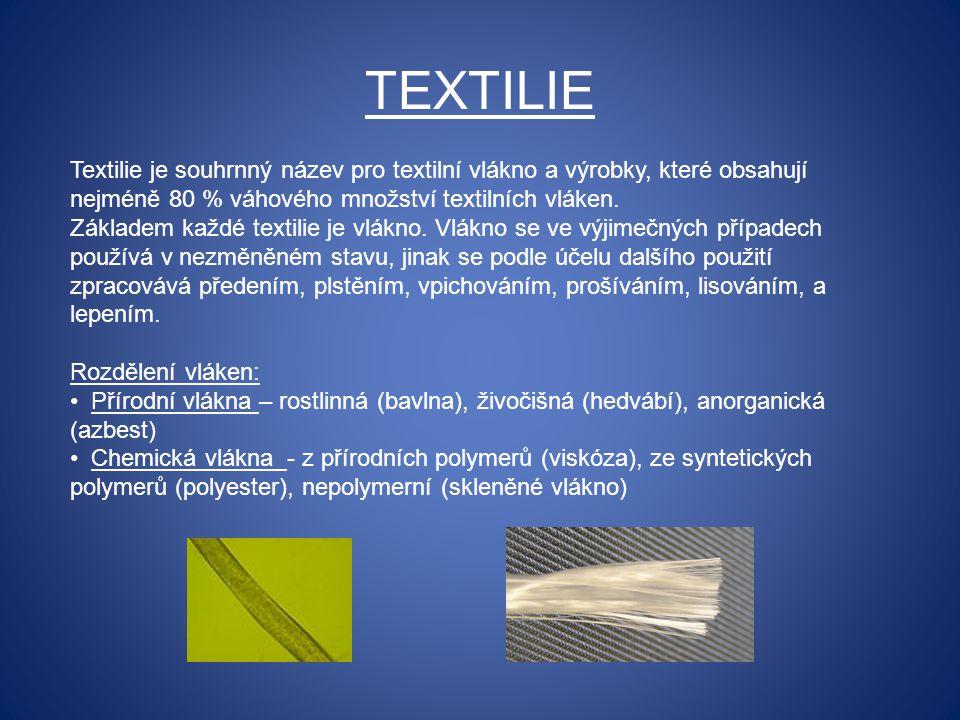 TEXTILIE Textilie je souhrnný název pro textilní vlákno a výrobky, které obsahují nejméně 80 % váhového množství textilních vláken.