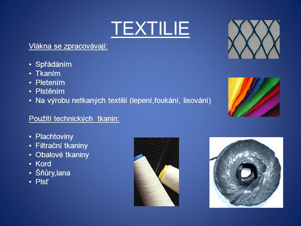 TEXTILIE Vlákna se zpracovávají: Spřádáním Tkaním Pletením Plstěním