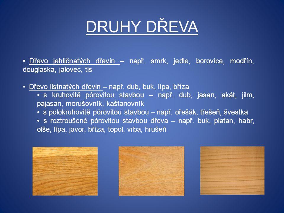 DRUHY DŘEVA Dřevo jehličnatých dřevin – např. smrk, jedle, borovice, modřín, douglaska, jalovec, tis.