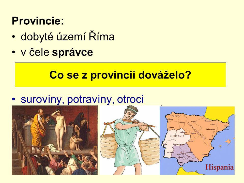 Co se z provincií dováželo