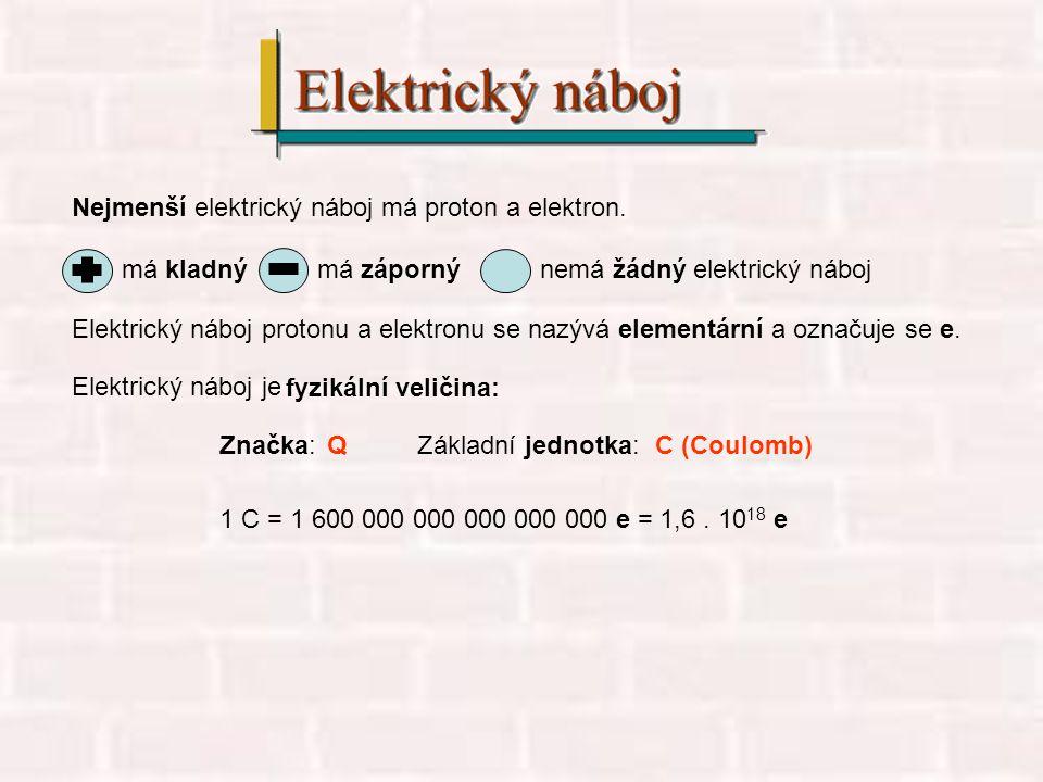 Nejmenší elektrický náboj má proton a elektron.