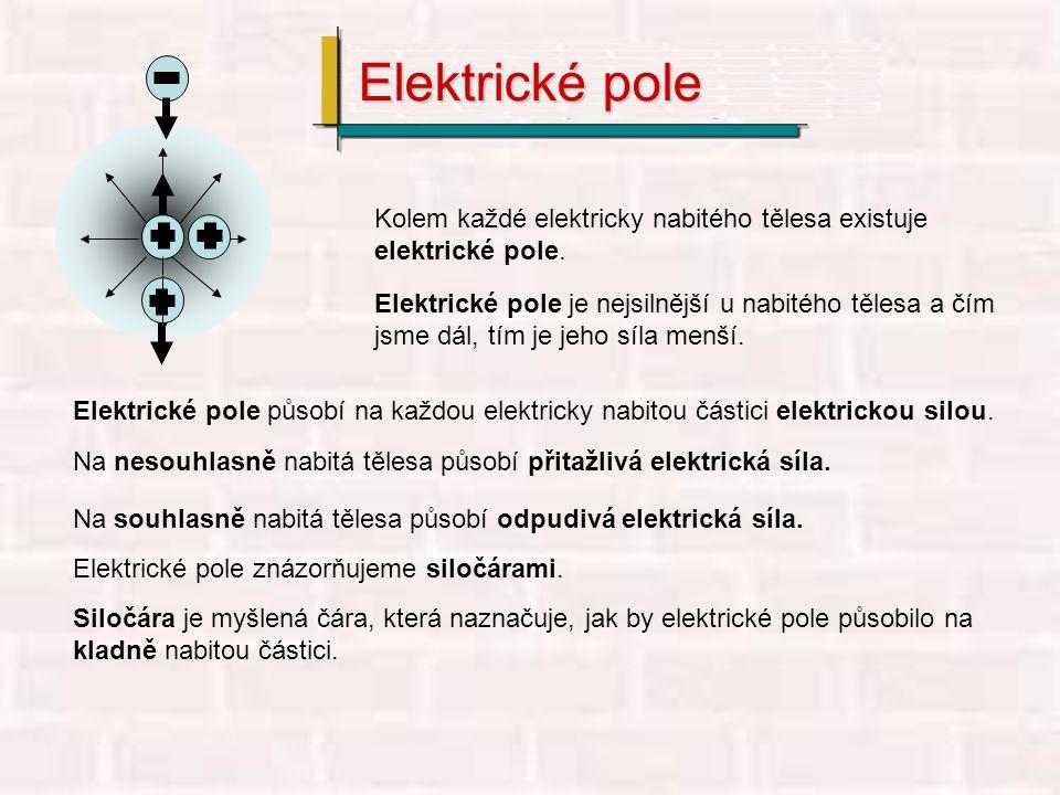 Elektrické pole Kolem každé elektricky nabitého tělesa existuje elektrické pole.