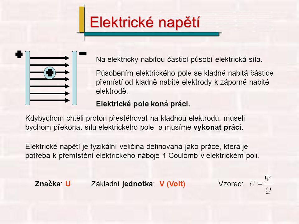 Elektrické napětí Na elektricky nabitou částicí působí elektrická síla.