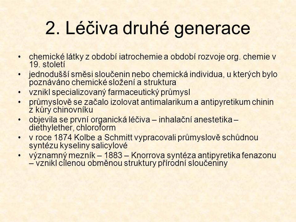 2. Léčiva druhé generace chemické látky z období iatrochemie a období rozvoje org. chemie v 19. století.