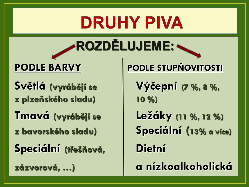 DRUHY PIVA ROZDĚLUJEME: