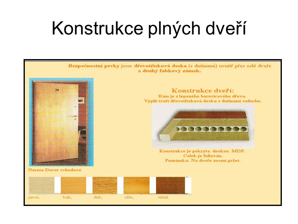 Konstrukce plných dveří
