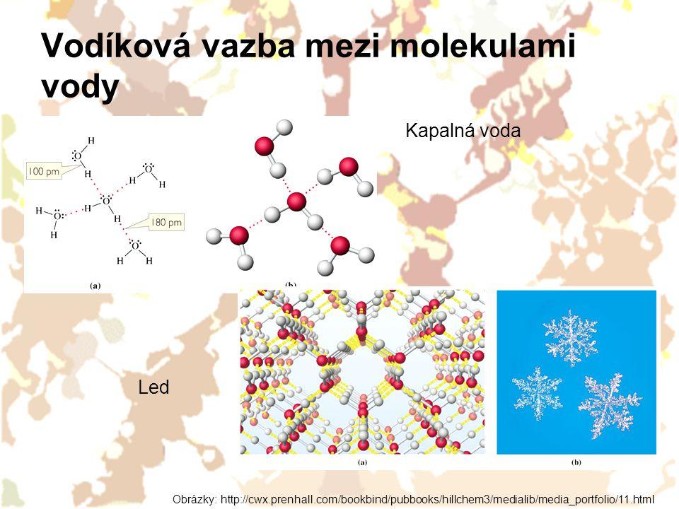 Vodíková vazba mezi molekulami vody