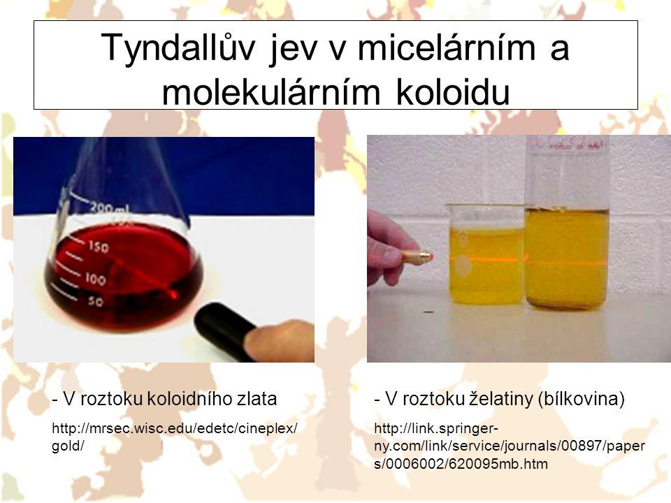 Tyndallův jev v micelárním a molekulárním koloidu