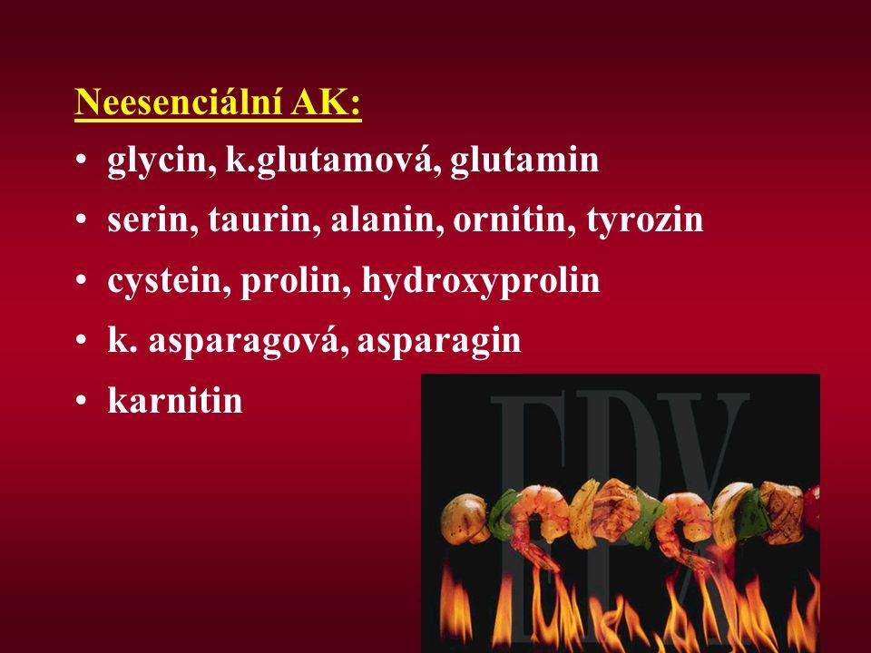 Neesenciální AK: glycin, k.glutamová, glutamin. serin, taurin, alanin, ornitin, tyrozin. cystein, prolin, hydroxyprolin.