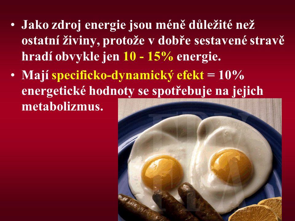 Jako zdroj energie jsou méně důležité než ostatní živiny, protože v dobře sestavené stravě hradí obvykle jen 10 - 15% energie.
