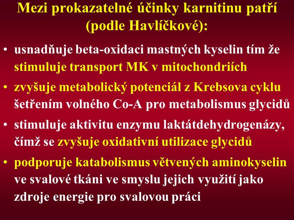 Mezi prokazatelné účinky karnitinu patří (podle Havlíčkové):