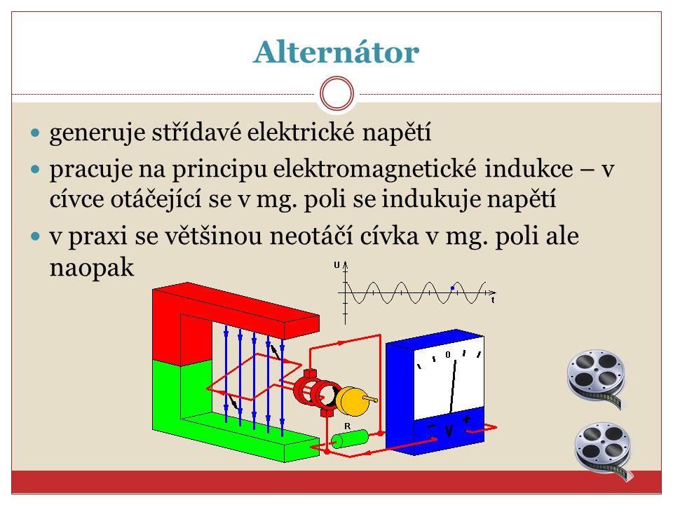 Alternátor v praxi se většinou neotáčí cívka v mg. poli ale naopak