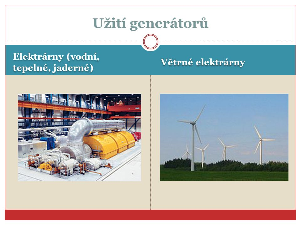 Užití generátorů Elektrárny (vodní, tepelné, jaderné)