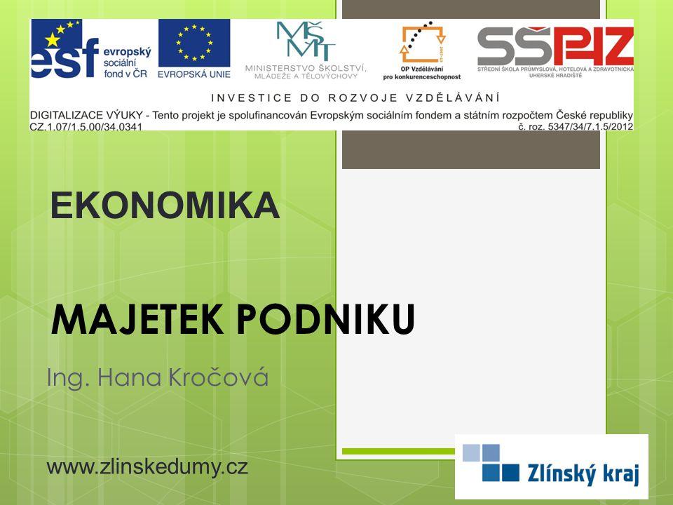 EKONOMIKA MAJETEK podniku Ing. Hana Kročová www.zlinskedumy.cz