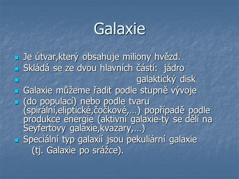 Galaxie Je útvar,který obsahuje miliony hvězd.