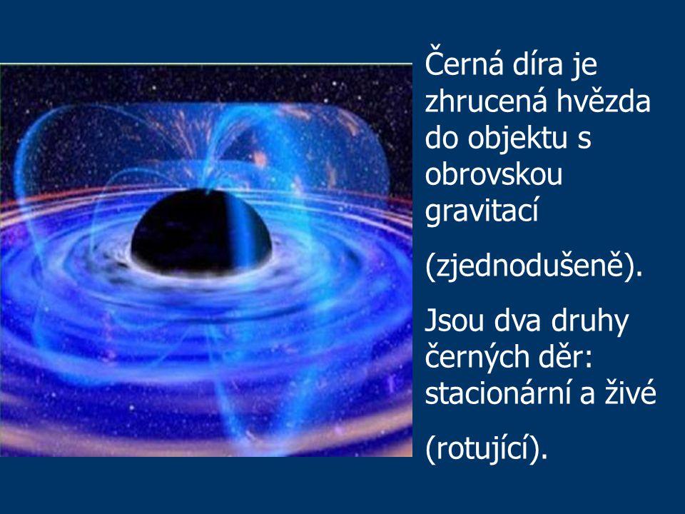 Černá díra je zhrucená hvězda do objektu s obrovskou gravitací