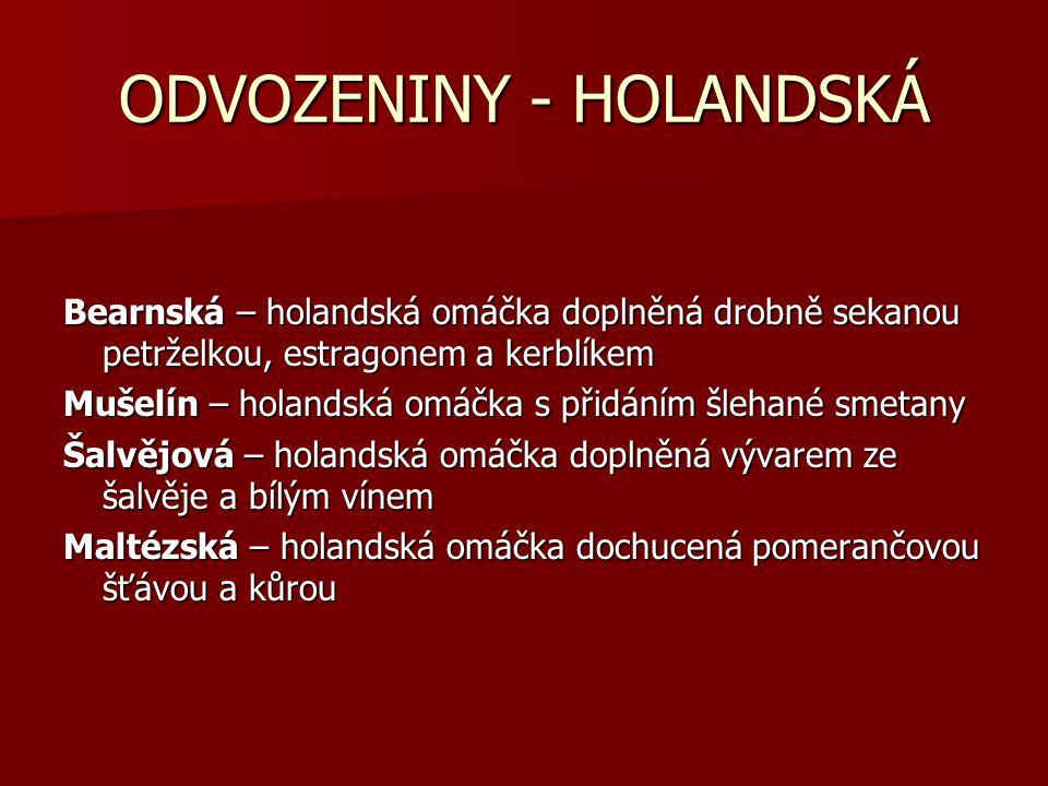 ODVOZENINY - HOLANDSKÁ