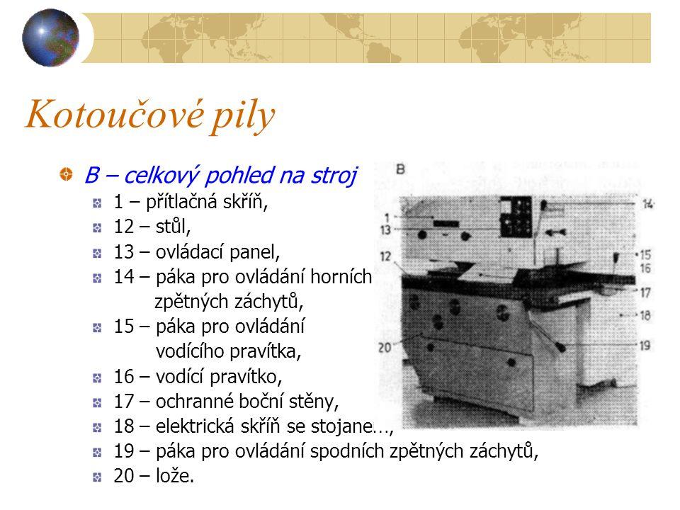 Kotoučové pily B – celkový pohled na stroj 1 – přítlačná skříň,