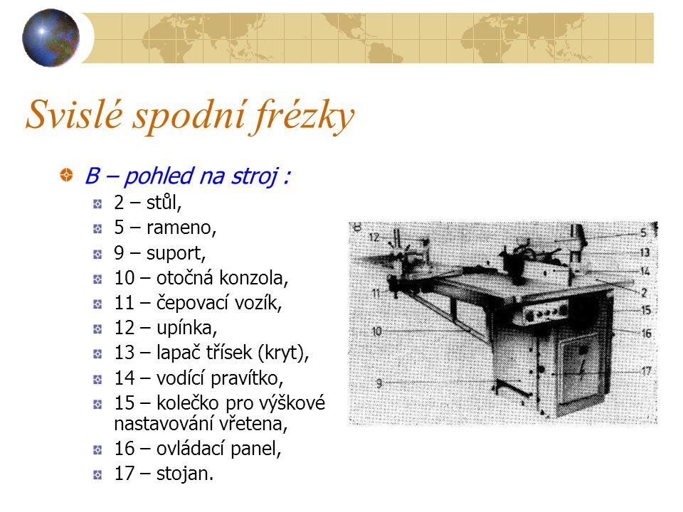 Svislé spodní frézky B – pohled na stroj : 2 – stůl, 5 – rameno,