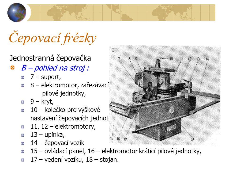 Čepovací frézky Jednostranná čepovačka B – pohled na stroj :