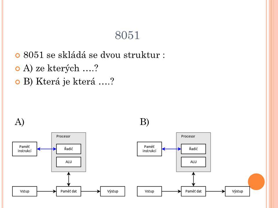 8051 8051 se skládá se dvou struktur : A) ze kterých ….