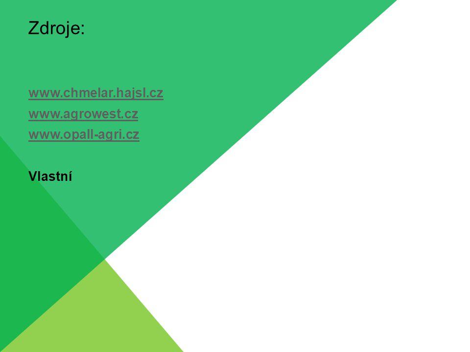 Zdroje: www.chmelar.hajsl.cz www.agrowest.cz www.opall-agri.cz Vlastní