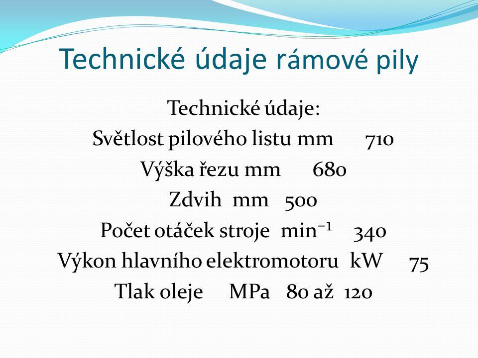 Technické údaje rámové pily