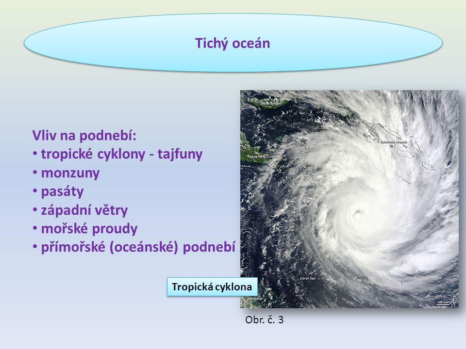 tropické cyklony - tajfuny monzuny pasáty západní větry mořské proudy