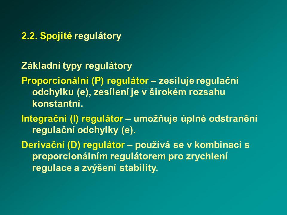 2.2. Spojité regulátory Základní typy regulátory.