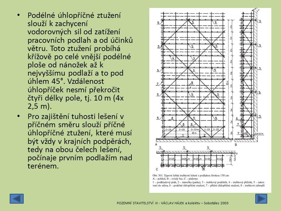 Podélné úhlopříčné ztužení slouží k zachycení vodorovných sil od zatížení pracovních podlah a od účinků větru. Toto ztužení probíhá křížově po celé vnější podélné ploše od nánožek až k nejvyššímu podlaží a to pod úhlem 45°. Vzdálenost úhlopříček nesmí překročit čtyři délky pole, tj. 10 m (4x 2,5 m).