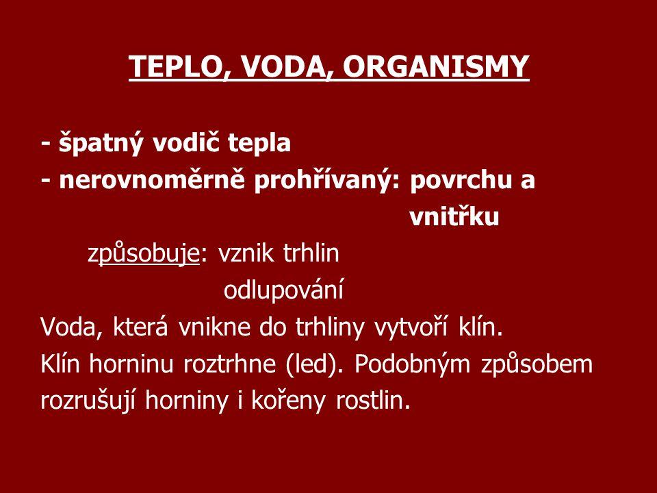 TEPLO, VODA, ORGANISMY - špatný vodič tepla