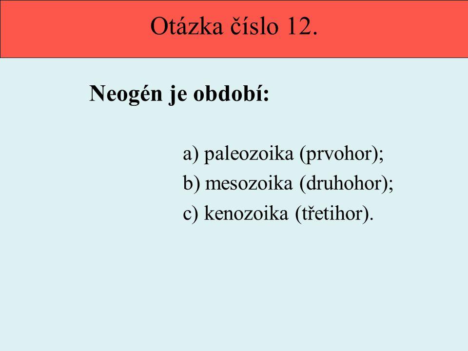 Otázka číslo 12. Neogén je období: b) mesozoika (druhohor);