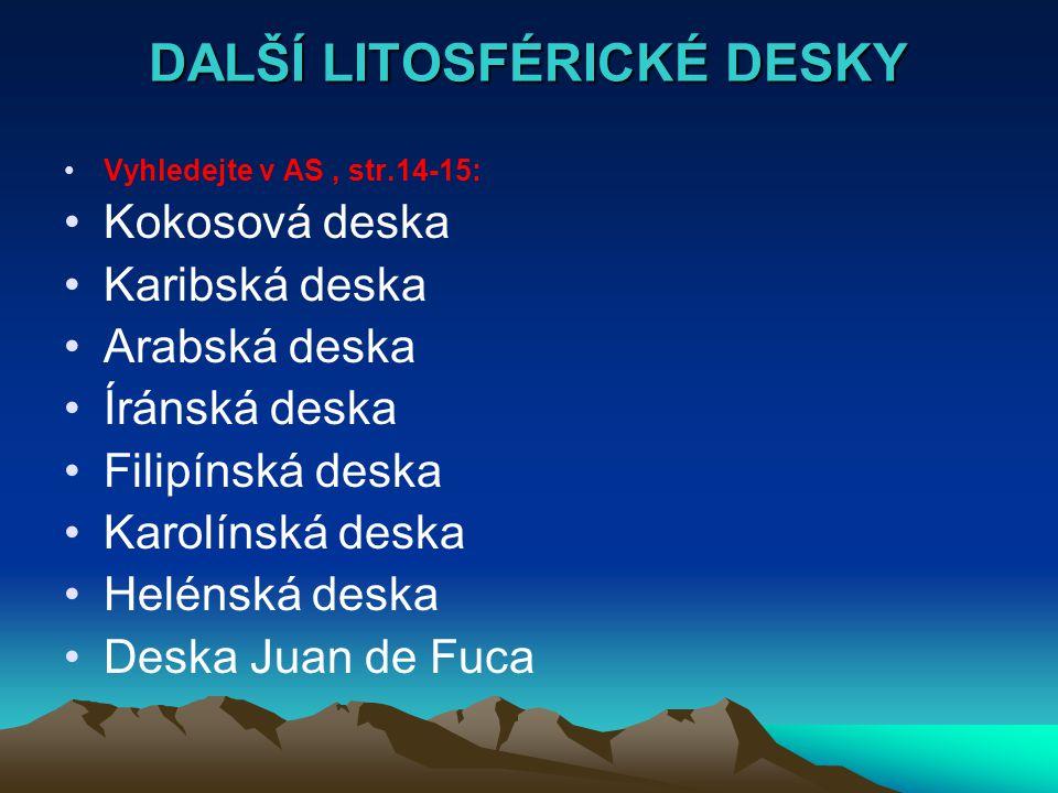 DALŠÍ LITOSFÉRICKÉ DESKY