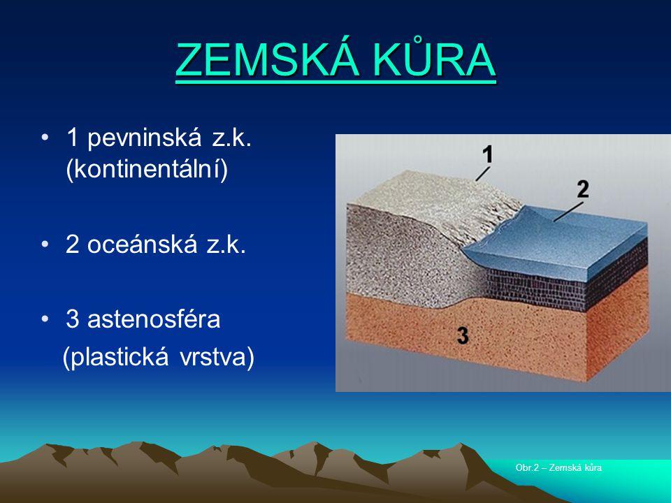 ZEMSKÁ KŮRA 1 pevninská z.k. (kontinentální) 2 oceánská z.k.