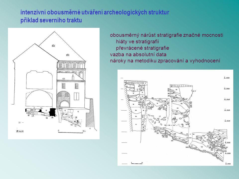 intenzivní obousměrné utváření archeologických struktur příklad severního traktu obousměrný nárůst stratigrafie značné mocnosti hiáty ve stratigrafii převrácené stratigrafie vazba na absolutní data nároky na metodiku zpracování a vyhodnocení