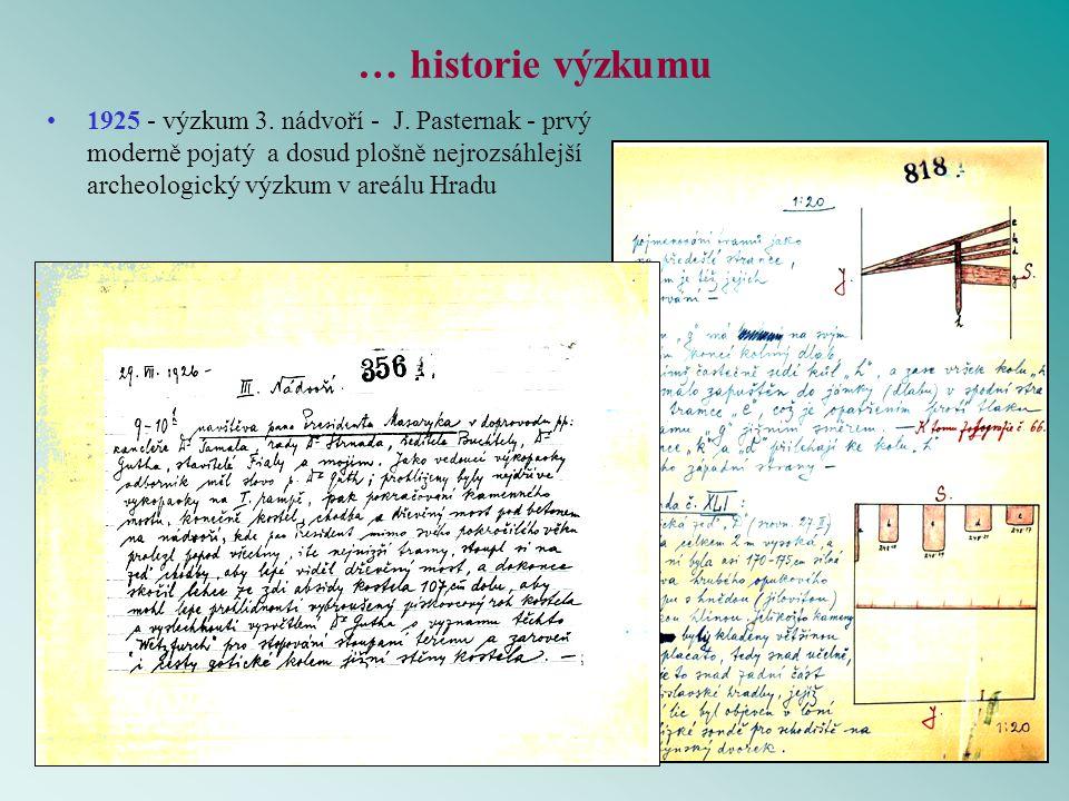 … historie výzkumu 1925 - výzkum 3. nádvoří - J.