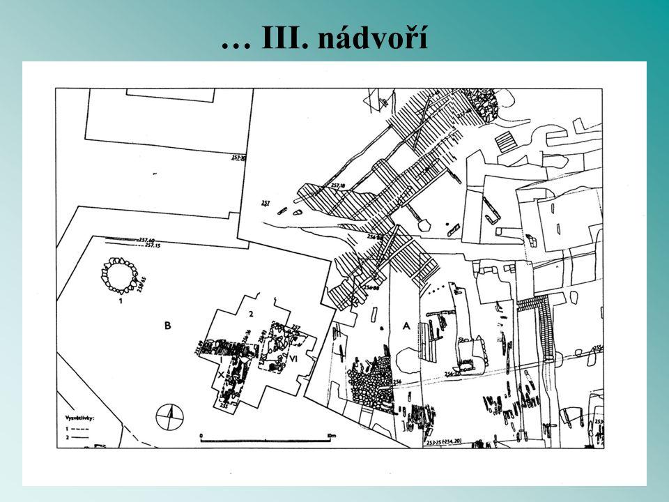 … III. nádvoří komplikovaná stratigrafie a několika metrová mocnost historických terénů.