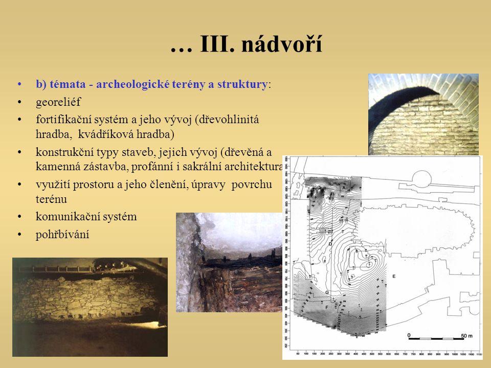 … III. nádvoří b) témata - archeologické terény a struktury: georeliéf