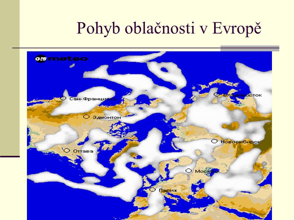 Pohyb oblačnosti v Evropě