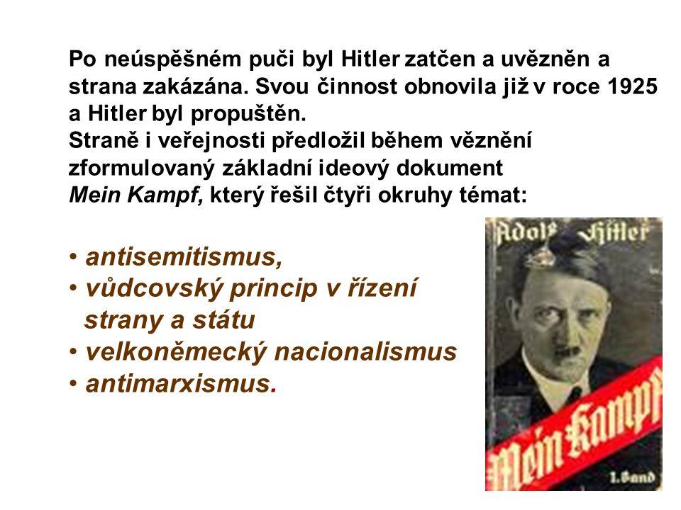 vůdcovský princip v řízení strany a státu velkoněmecký nacionalismus