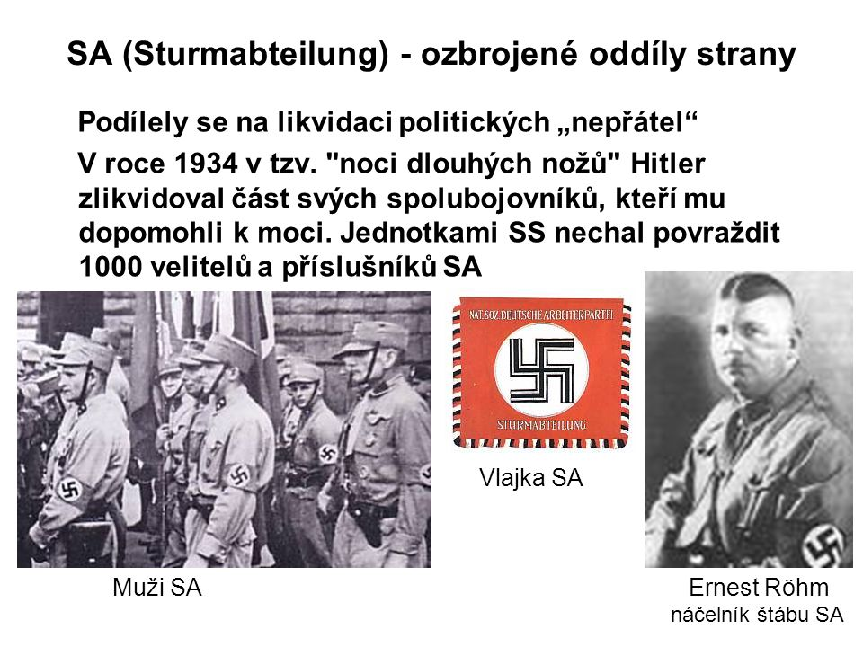 SA (Sturmabteilung) - ozbrojené oddíly strany