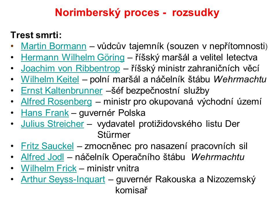Norimberský proces - rozsudky