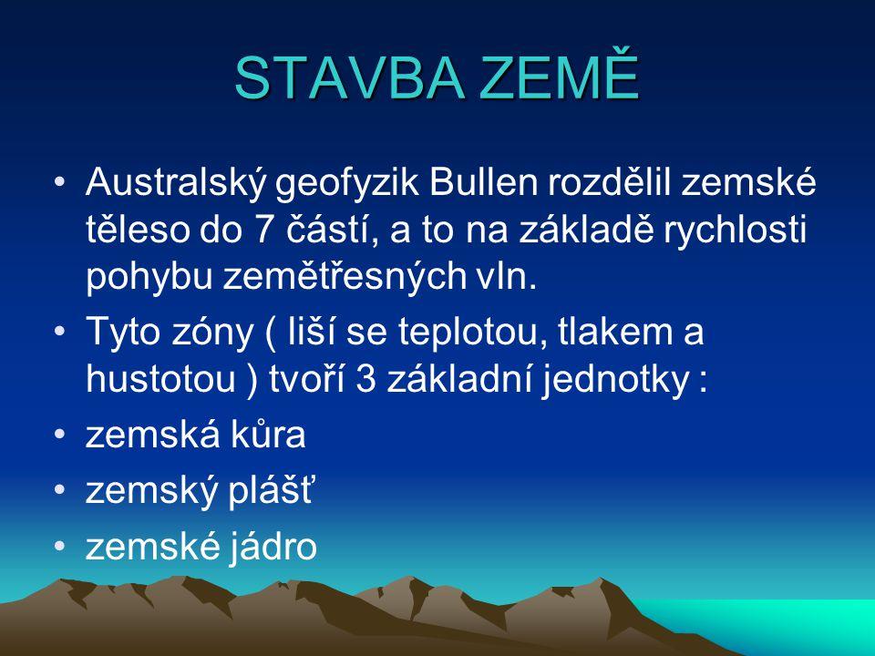 STAVBA ZEMĚ Australský geofyzik Bullen rozdělil zemské těleso do 7 částí, a to na základě rychlosti pohybu zemětřesných vln.